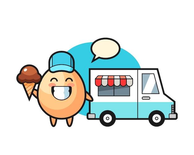 Maskottchenkarikatur des eies mit eiswagen, niedliches artdesign für t-shirt, aufkleber, logoelement