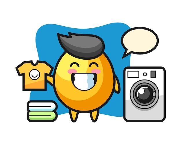 Maskottchenkarikatur des goldenen eies mit waschmaschine, niedlicher artentwurf