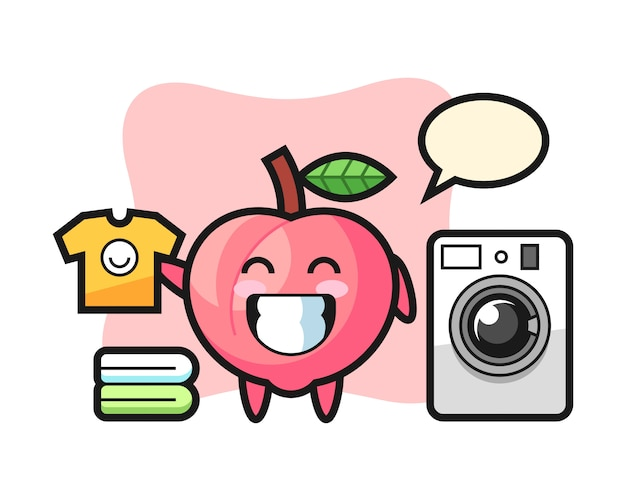 Maskottchenkarikatur des pfirsichs mit waschmaschine, niedlicher artentwurf für t-shirt