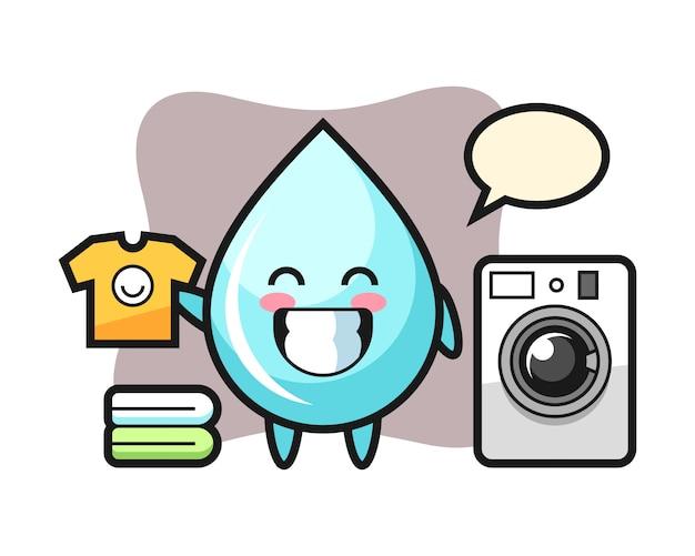 Maskottchenkarikatur des wassertropfens mit waschmaschine, niedlicher artentwurf für t-shirt