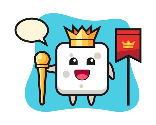 Maskottchenkarikatur des zuckerwürfels als könig, niedlicher stil für t-shirt, aufkleber, logoelement