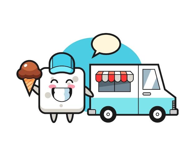 Maskottchenkarikatur des zuckerwürfels mit eiswagen, niedlicher stil für t-shirt, aufkleber, logoelement