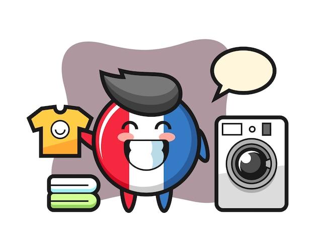 Maskottchenkarikatur von frankreich-flaggenabzeichen mit waschmaschine