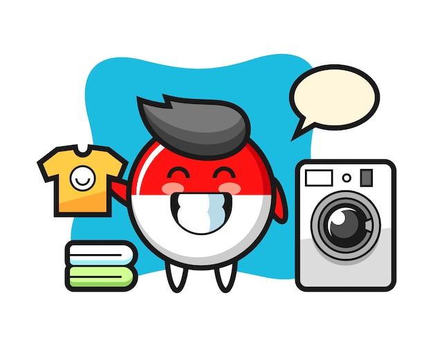 Maskottchenkarikatur von indonesien-flaggenabzeichen mit waschmaschine