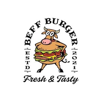 Maskottchenkuh mit burger-kombination. beef burger logo