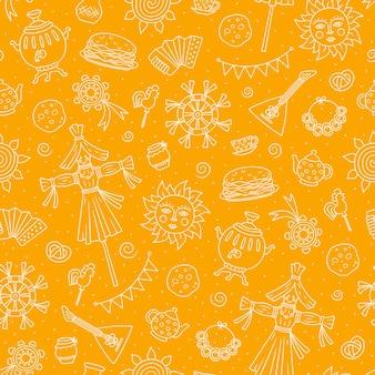 Maslenitsa pfannkuchen woche elemente pfannkuchen samowar süßigkeiten balalaika sonne vogelscheuche
