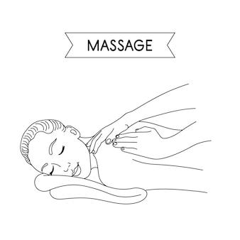 Massage frauenhände machen eine therapeutische massage für ein mädchen im linienstil