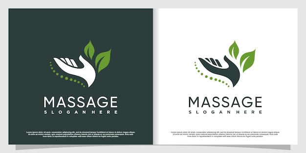 Massage-logo-design mit kreativem konzept premium-vektor