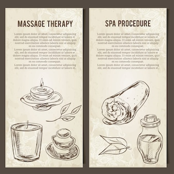 Massage, spa und entspannungsverfahren. satz kartenvorlage. handgezeichnete elemente.