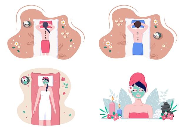 Massage und body spa illustrationen gesetzt Premium Vektoren