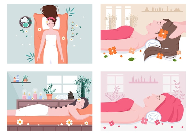 Massage und body spa illustrationen gesetzt