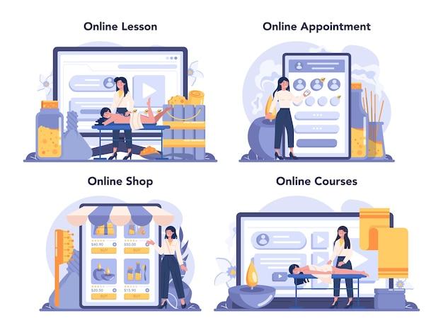 Massage- und masseur-onlinedienst oder plattformset
