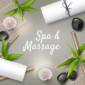 Massage und spa hintergrund. massagesteine, kerzen, handtücher.