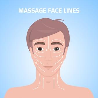 Massagelinien auf männlichem gesicht schönheitsbehandlung hautpflegekonzept mans kopfporträt
