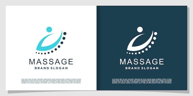 Massagelogo mit kreativem modernem stil premium-vektor
