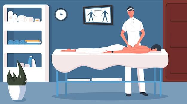 Massagemannzusammensetzung mit kosmetischer salonraumlandschaft und menschlichen charakteren des männlichen patienten und des arztes