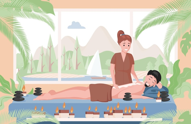 Massagetherapeut, der massage auf lügenmannillustration übt