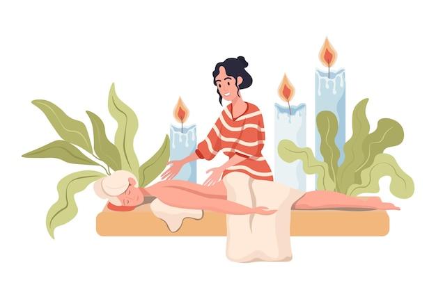 Massagetherapeut, der massageillustration übt