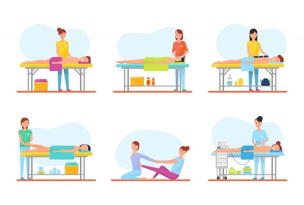Massagetherapie und behandlungs-ikonen stellten vektor ein
