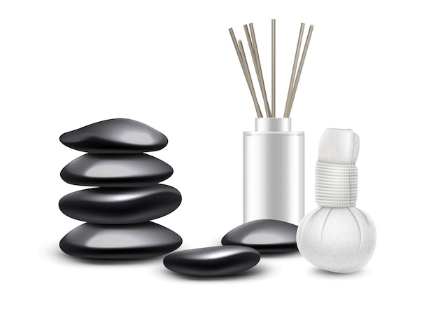 Massagezubehörsatz lokalisiert auf weißem hintergrund. massagesteine, kräuterkompresse, aromasticks.