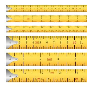 Maßbänder. messen sie zoll bandmaß lineal, zentimeter metrische präzision werkzeug roulette längenmarkierungen. isoliert