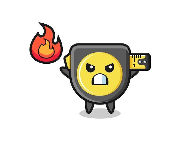 Maßband-charakterkarikatur mit wütender geste, süßem design