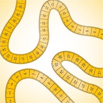 Maßdesign über gelber hintergrundvektorillustration