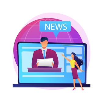 Massenmedien. reporter-zeichentrickfigur. tägliche nachrichten, rundfunk, online-presse, internetjournalismus. social media konzept. korrespondent, journalist.