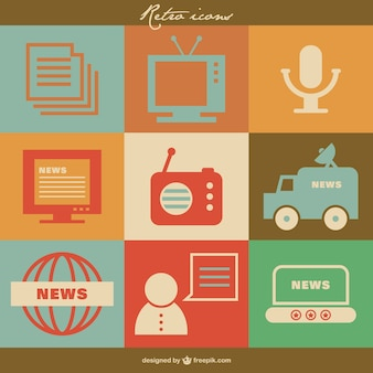 Massenmedien retro-vektor-icons