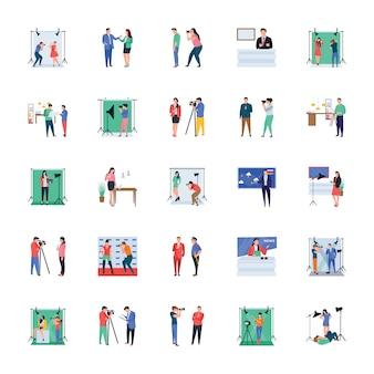 Massenmedien und werbung flache illustrationen