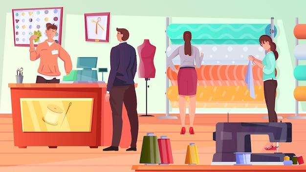 Maßgeschneiderte flache komposition mit kunden, die die werkstatt besuchen, und mitarbeitern, die materialien für den neuen anzug auswählen