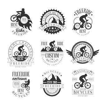 Maßgeschneiderte free ride bike shop schwarz-weiß-zeichen design-vorlagen mit text und tools silhouetten