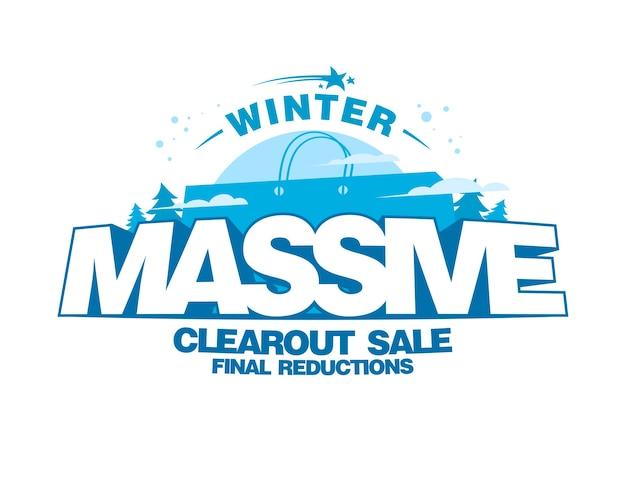 Massives winter-clearout-verkaufsdesign mit großer einkaufstasche