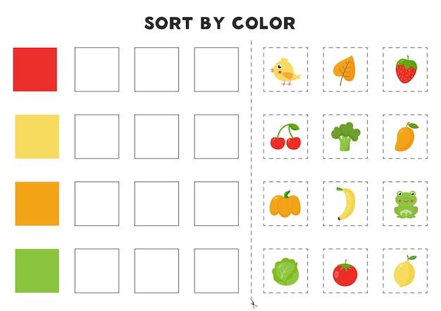 Match farbtabelle. farbenspiel lernen. druckbares arbeitsblatt für die vorschule.