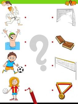 Match kinder charaktere und sportaktivitäten spiel