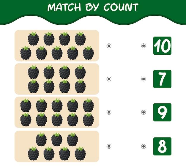 Match nach anzahl der cartoon-brombeeren. spiel abgleichen und zählen. lernspiel für kinder und kleinkinder vor der schule