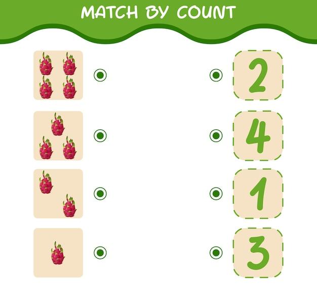 Match nach anzahl der cartoon-drachenfrüchte. spiel abgleichen und zählen. lernspiel für kinder und kleinkinder vor der schule