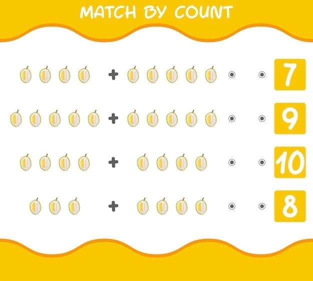 Match nach anzahl der cartoon-durians. spiel abgleichen und zählen.