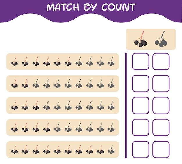 Match nach anzahl der cartoon holunder. spiel abgleichen und zählen. lernspiel für kinder und kleinkinder vor der schule