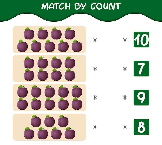 Match nach anzahl der cartoon-pflaumen match-and-count-spiel lernspiel für kinder und kleinkinder vor der schule