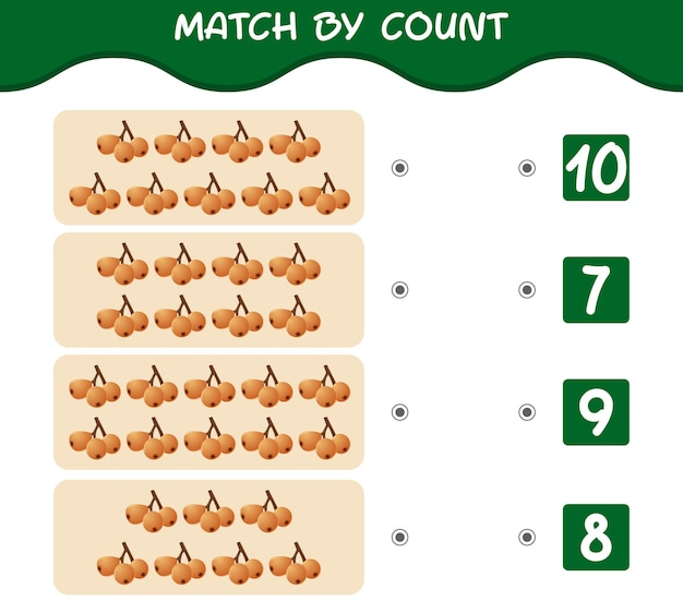 Match nach anzahl der cartoon-wollmispeln. spiel abgleichen und zählen. lernspiel für kinder und kleinkinder vor der schule