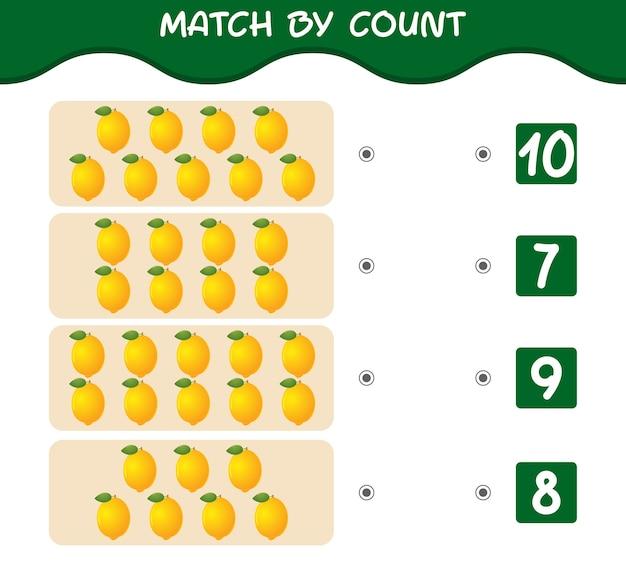 Match nach anzahl der cartoon-zitronen. spiel abgleichen und zählen. lernspiel für kinder und kleinkinder vor der schule