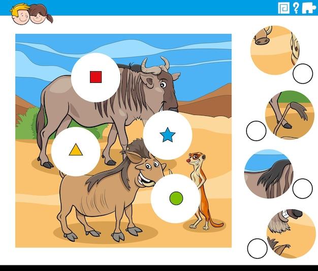 Match-pieces-aufgabe mit wildtier-charakteren