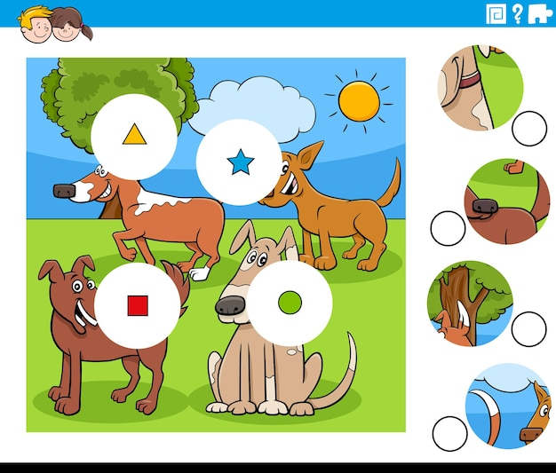 Match-pieces-spiel mit comic-hundefiguren