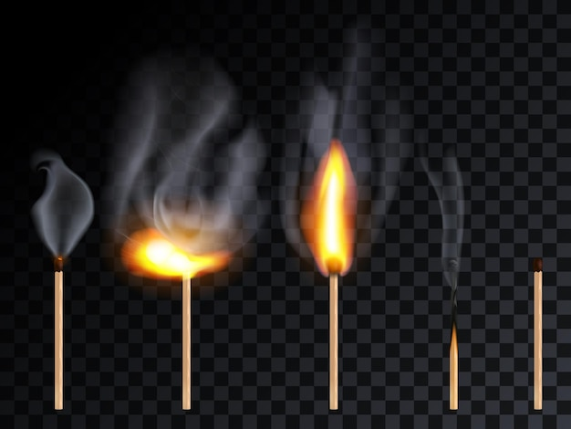 Match-stick mit rauch und verschiedenen flammen-set, isoliert auf transparenz-raster-hintergrund. ganzes streichholz leuchtet auf und brennt bühnen. vektor realistische 3d-darstellung