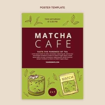 Matcha-café-plakat im flachen design