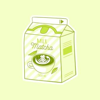 Matcha cartoon milch asiatisches produkt handgezeichnete farbige trendige vektorillustration kawaii anime