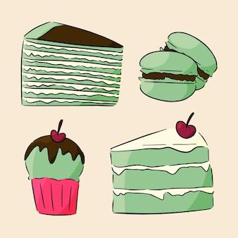 Matcha dessertkollektionskonzept