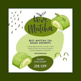 Matcha desserts quadratischen flyer