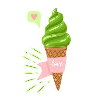 Matcha-eis-cartoon-illustration mit zitat liebe. matcha-grüntee-dessert-vektor-illustration isoliert auf weißem hintergrund. asiatische japanische und chinesische zeremonie. handgezeichnete eisverpackungen.